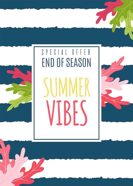 Summer vibes flat card als speciale seizoensaanbieding. Premium Vector