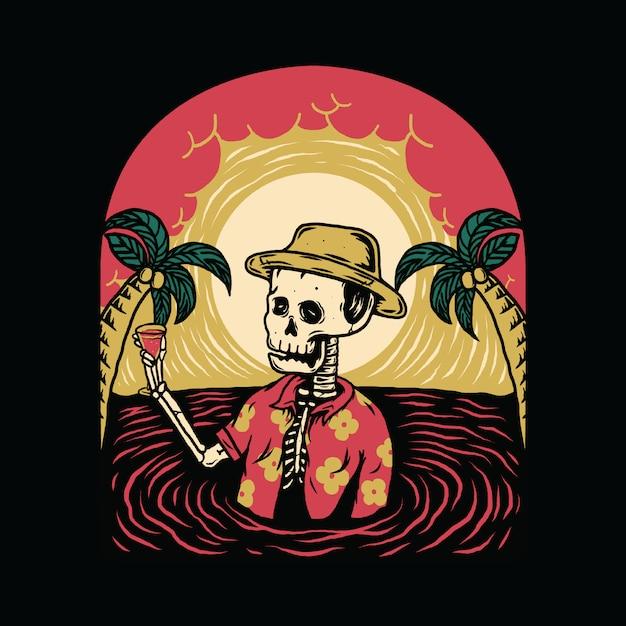 Summer vibes skelet horror halloween relax zomer grafische afbeelding Premium Vector