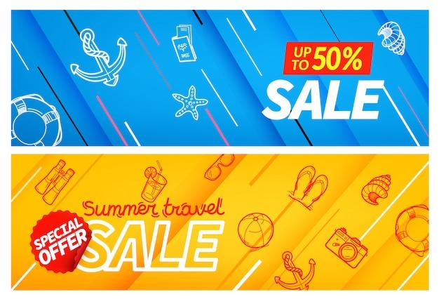 Summertravel verkoop kleur banner set, Premium Vector