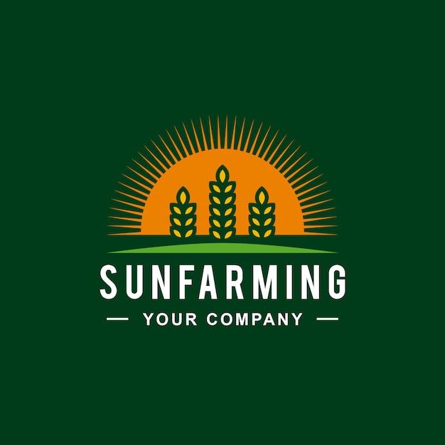 Sun wheat farm logo-ontwerp Premium Vector