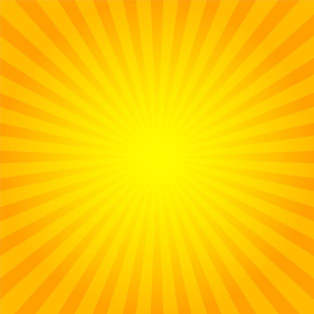 Sunburst achtergrond oranje met gele zonnestralen. Premium Vector