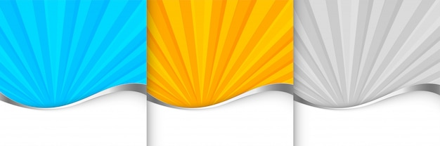 Sunburst achtergrond sjabloon in oranje blauwe en grijze schaduw Gratis Vector