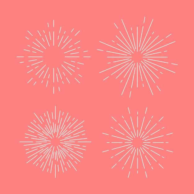 Sunburst vector ingesteld op roze Gratis Vector