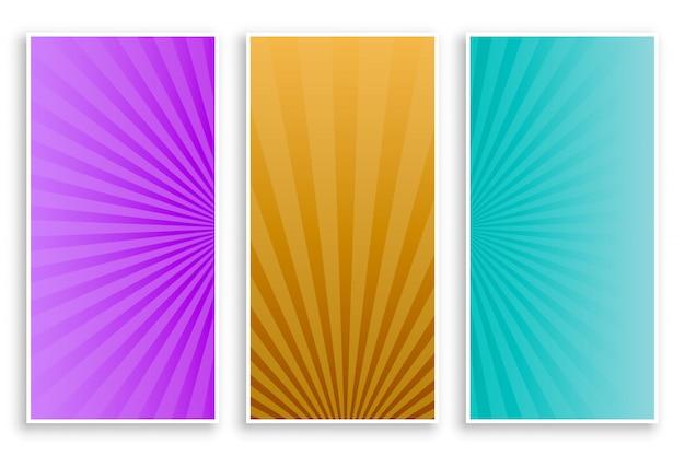 Sunburststralen lege banners instellen Gratis Vector