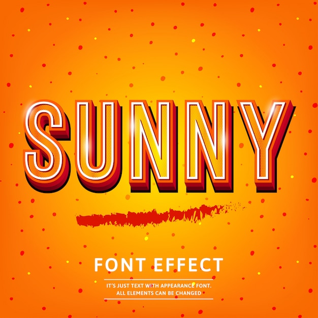 Sunny vintage 3d premium rich textured text-effect Premium Vector