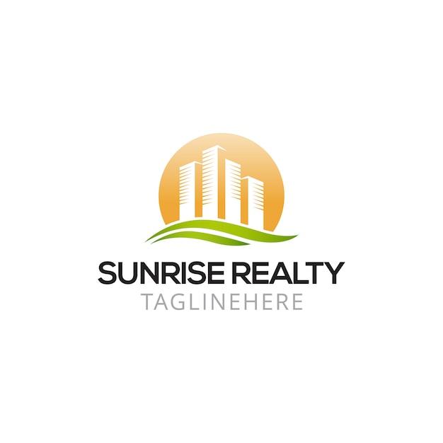 Sunrise real estate logo design Premium Vector