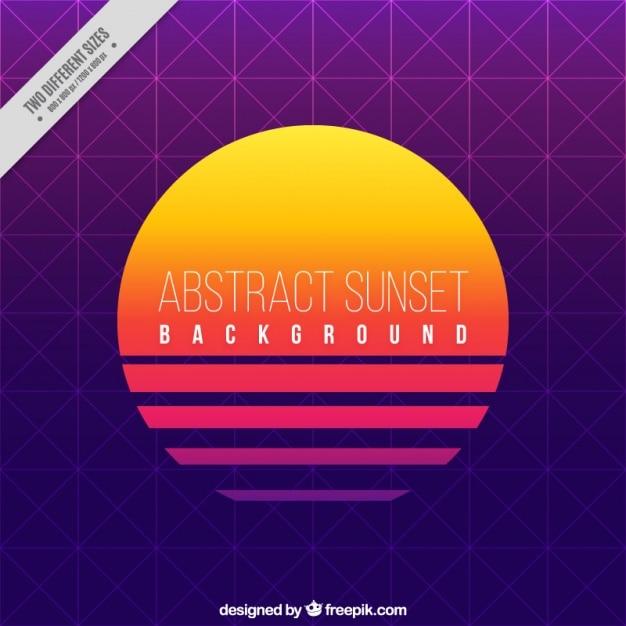 Sunset achtergrond met geometrische vormen Gratis Vector