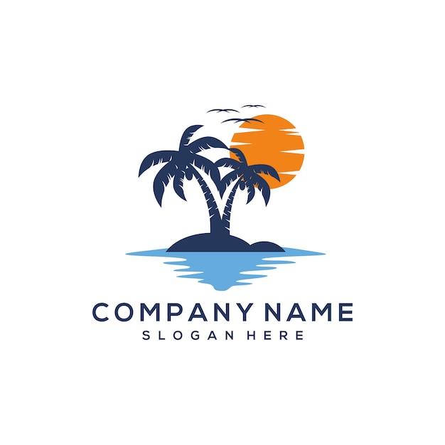 Sunset logo-ontwerp Premium Vector