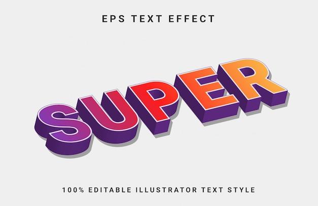 Super 3d bewerkbaar teksteffect Premium Vector