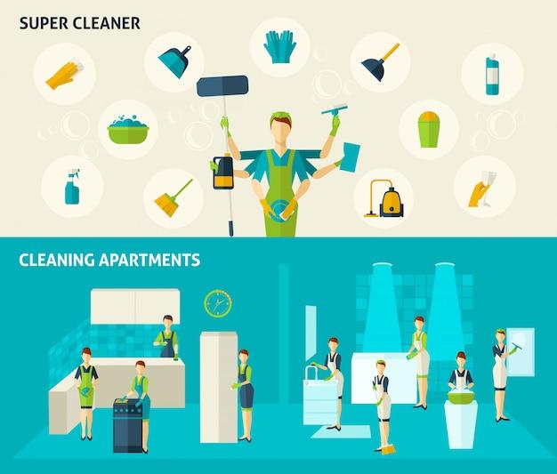 Super cleaner flat banners set Gratis Vector