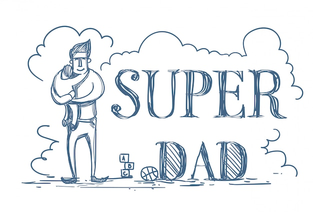 Super dad doodle poster met man omhelzen kid Premium Vector