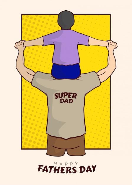 Super dad illustratie vector Premium Vector