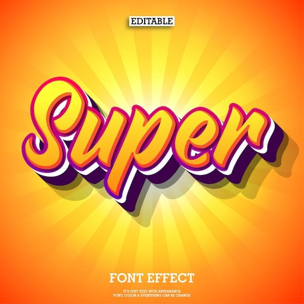 Super geweldig teksteffect met oranje kleur Premium Vector