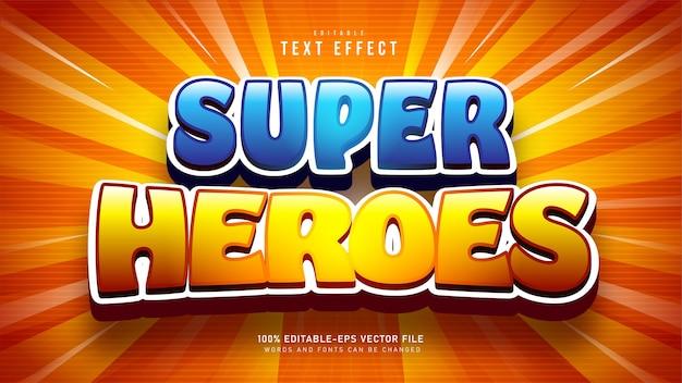 Super heroes cartoon-teksteffect Gratis Vector