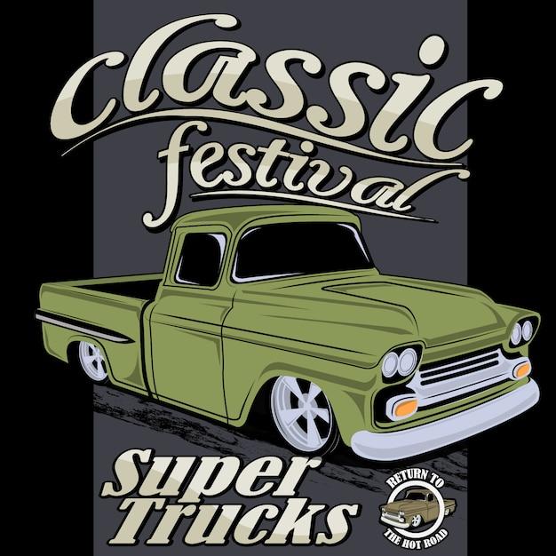 Super klassieke vrachtwagen Premium Vector