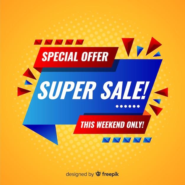 Super mega verkoop bannerontwerp Gratis Vector