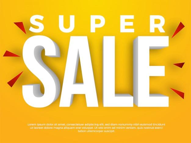 Super sale 3d-tekstbanner Premium Vector