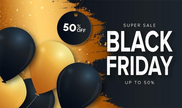 Super sale black friday-banner met splash-ontwerp Gratis Vector