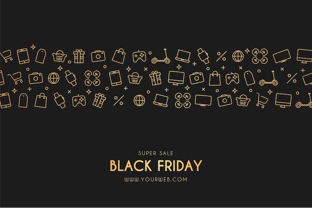 Super sale black friday-banner met winkelpictogrammen Gratis Vector