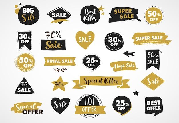Super sale-labels, goud en zwart moderntickers en tags sjabloonontwerp Premium Vector