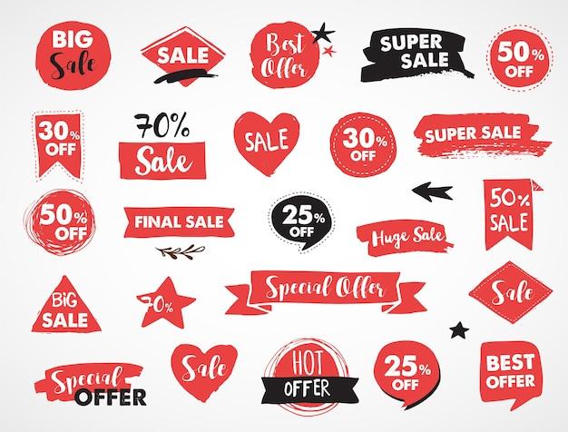 Super sale-labels, moderntickers en tags sjabloonontwerp Premium Vector