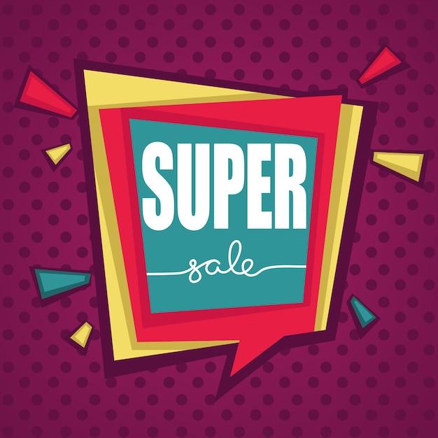Super sale, pop art bright biscount bubble tags, banners en stickers Premium Vector