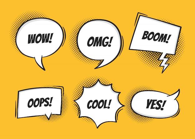 Super set retro kleurrijke komische tekstballonnen met halftone schaduwen op gele achtergrond Premium Vector
