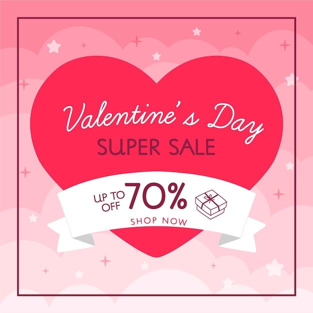 Super verkoop hart en lint valentijnsdag verkoop Gratis Vector