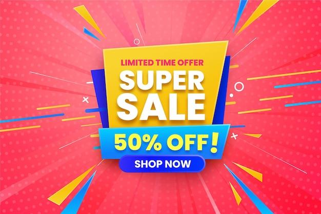 Super verkoop horizontale banner Gratis Vector