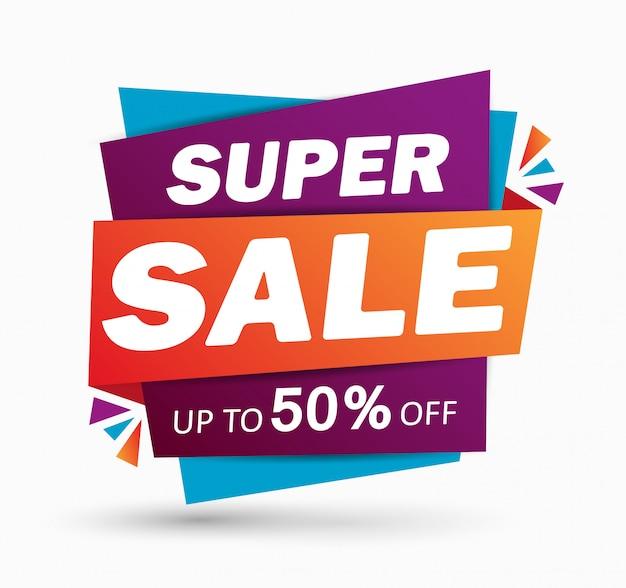 Super verkoop korting banner ontwerp Premium Vector