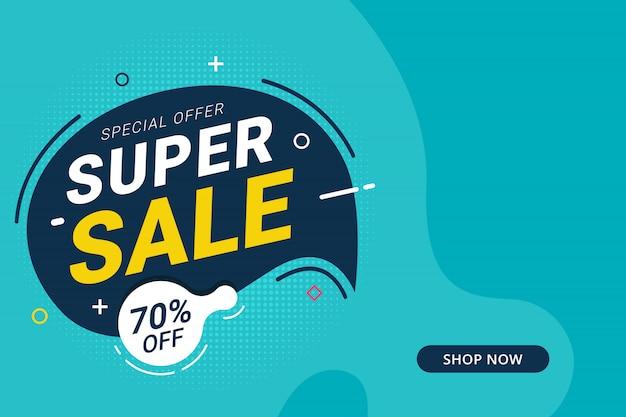 Super verkoop korting banner sjabloon promotie ontwerp voor het bedrijfsleven Premium Vector