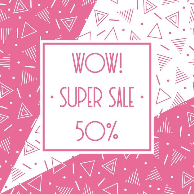 Super verkoop memphis banner. korting tot 50 procent korting. winkel nu. halve prijs korting. Premium Vector