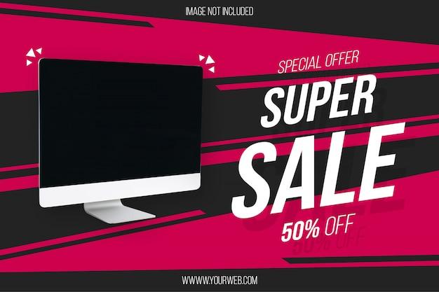 Super verkoop sjabloon voor spandoek met abstracte achtergrond Gratis Vector