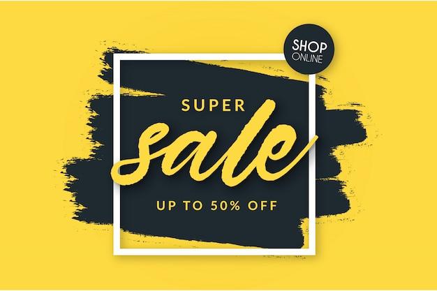 Super verkoopachtergrond met borstelvorm Gratis Vector