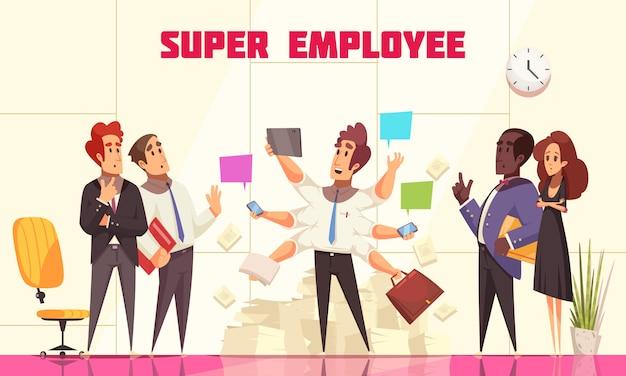 Super werknemerssamenstelling met mensen in bureaubinnenland die hun medewerker met vele handen, multitasking concept, vlakke vectorillustratie bekijken Gratis Vector
