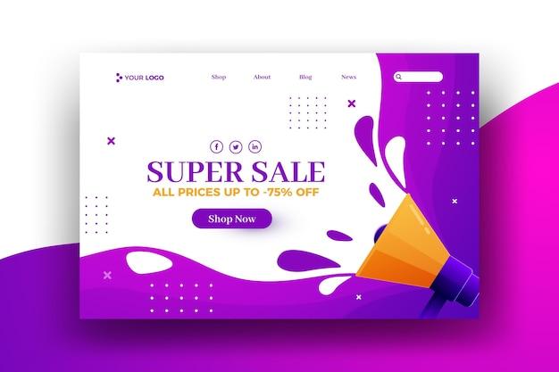 Super zomerverkoop weblandingspagina Gratis Vector