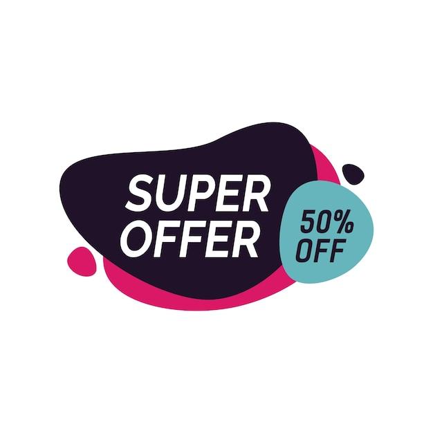 Superaanbieding vijftig procent uitschrijven Gratis Vector