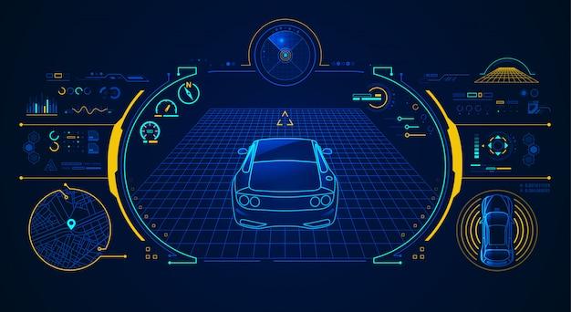 Supercar-analyse Premium Vector