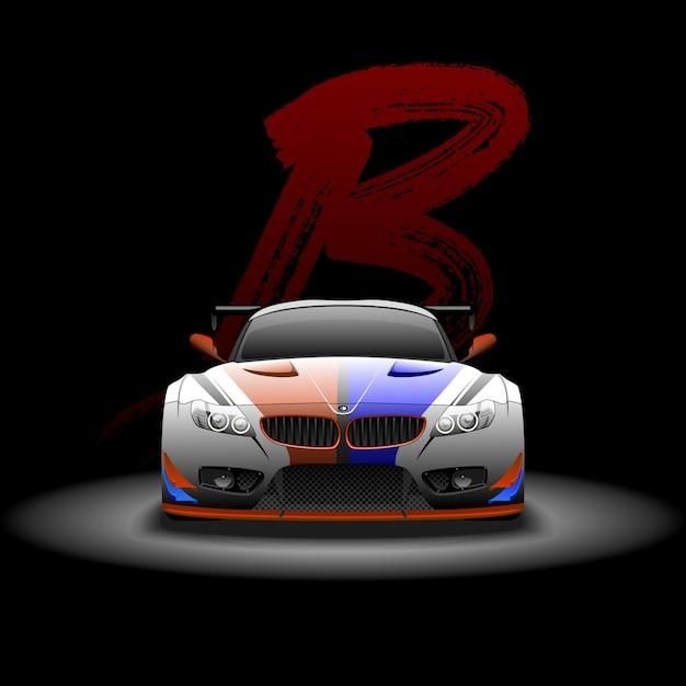 Supercar met raceauto Premium Vector