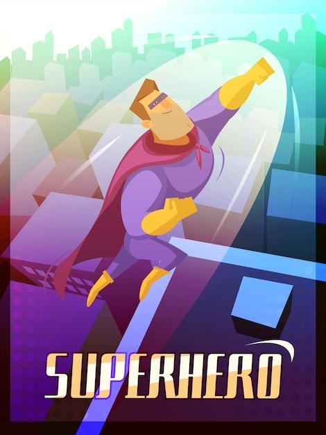 Superheld cartoon poster Gratis Vector