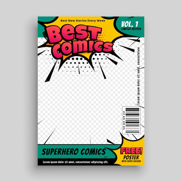 Superheld comic magazine voorblad Gratis Vector