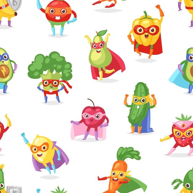 Superheld fruitig fruitig stripfiguur van superheld expressie groenten met grappige banaan wortel of peper in masker illustratie vruchtbare vegetarische achtergrond instellen Premium Vector