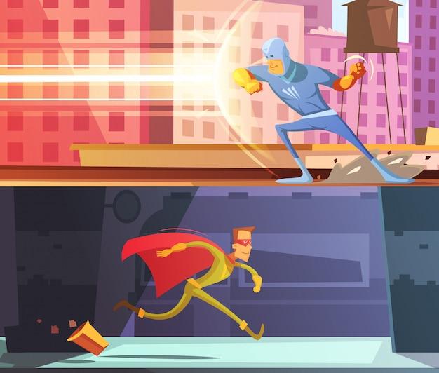 Superheld horizontale cartoon banners instellen Gratis Vector