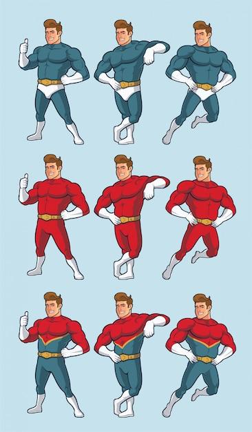 Superheld in verschillende poses en alternatieve kostuums Premium Vector