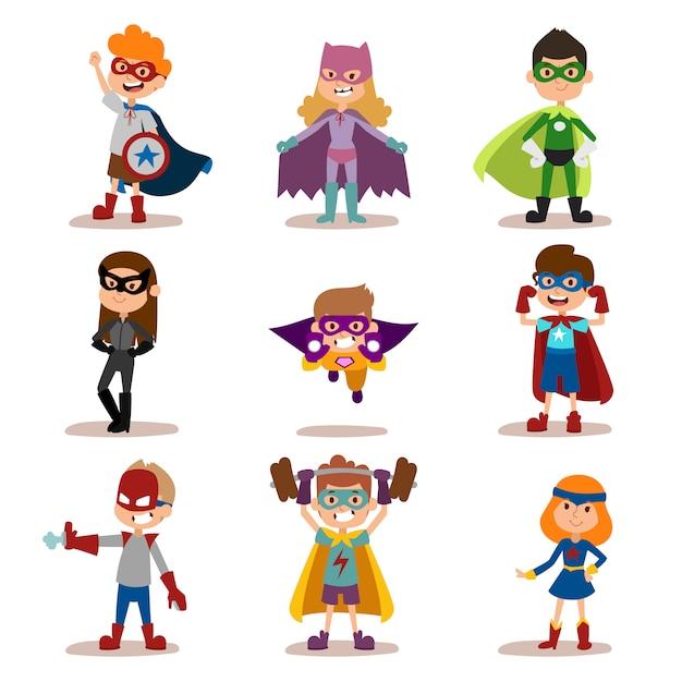 Superheld kinderen jongens en meisjes cartoon vector illustratie Premium Vector
