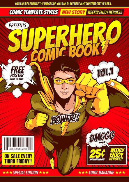 Superheld komische voorbladsjabloon achtergrond. Premium Vector