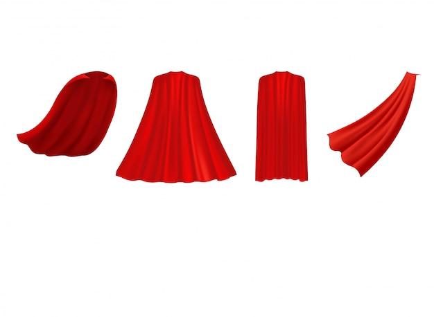 Superheld rode cape in verschillende posities, voor-, zij- en achteraanzicht op witte achtergrond. Premium Vector