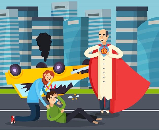 Superheld urban flat Gratis Vector