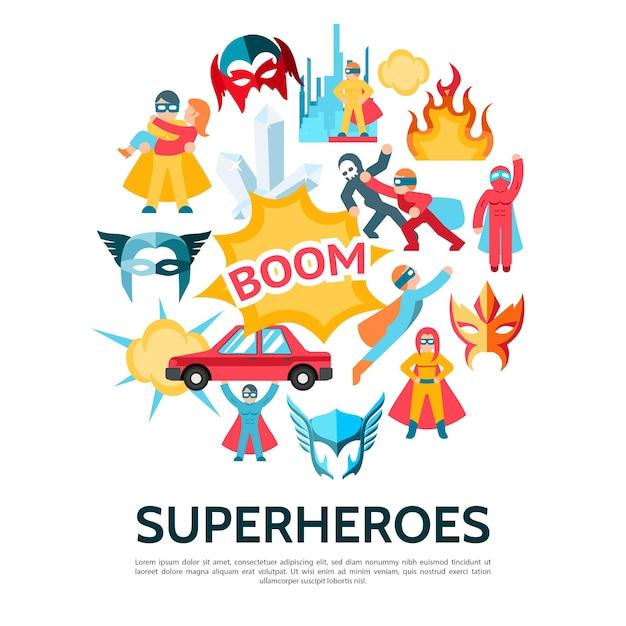 Superhelden elementen sjabloon in vlakke stijl Gratis Vector