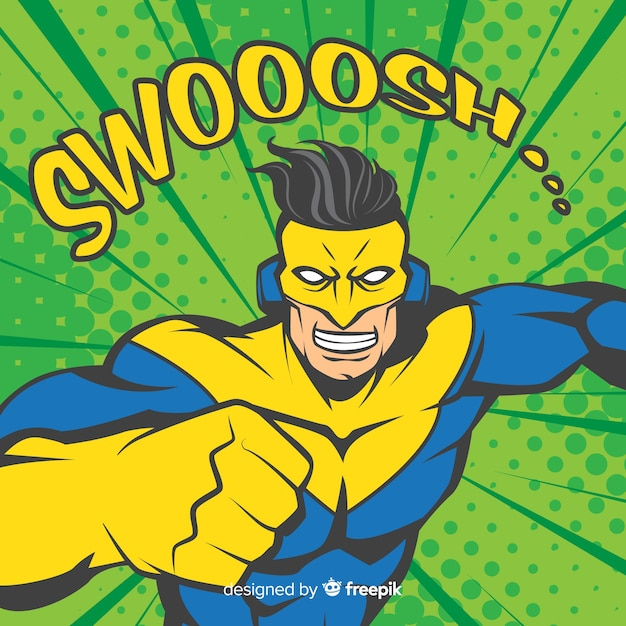 Superheldenkarakter met pop-artstijl Gratis Vector